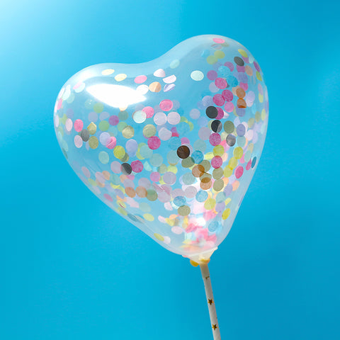 BALLOON CAKE TOPPER - HEART SHAPE - GOLD MIXED COLOUR -  CONFETTI ( NO 11)