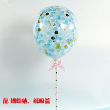 BALLOON CAKE TOPPER - BLUE GOLD-  CONFETTI ( NO 6 )