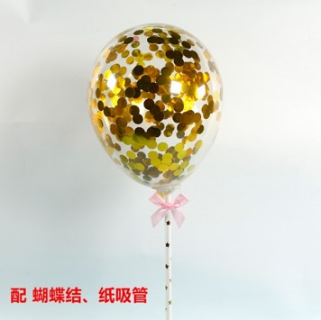 BALLOON CAKE TOPPER - GOLD GOLD-  CONFETTI ( NO 8)