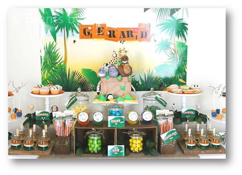 dessert table COLLECTION / SAFARI THEME PROPOSAL / WILD ANIMALS  IN THE JUNGLE FOR A BIRTHDAY PARTY