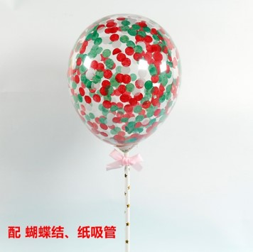 BALLOON CAKE TOPPER - RED/ GREEN CONFETTI ( NO 1 )