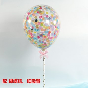 BALLOON CAKE TOPPER - PASTEL RAINBOW CONFETTI ( NO 3 )