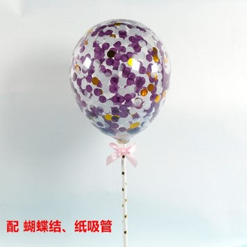 BALLOON CAKE TOPPER - PURPLE SILVER CONFETTI ( NO 4)