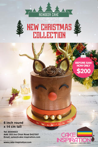 Super-cute Reindeer Handcrafted Chocolate Ganache Cake Optional Rainbow Inside( NEW 2017 )