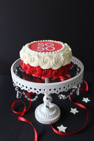 SINGAPORE NATIONAL DAY - Vanilla Strawberry Cream Rosette Cake