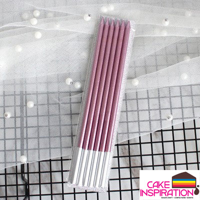 Slim Metallic Candles - PURPLE PINK  ( 6 pieces per pack )