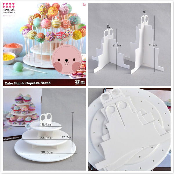 RENTAL / DISPLAY 3 TIER ROUND CUPCAKE / CAKE POP STAND WITH HOLDER ON TOP/ WHITE / PLASTIC