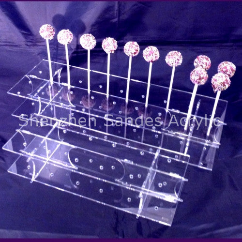 RENTAL / DISPLAY 1 TIER GLASS 36 PCS CAKE POP STAND / TRANSPARENT