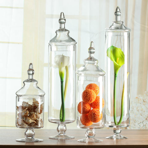 RENTAL / DISPLAY TALL & SHORT GLASS JUG SET OF 3 WITH COVERS