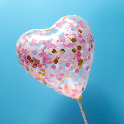 BALLOON CAKE TOPPER - HEART SHAPE - PINK GOLD-  CONFETTI ( NO 10)