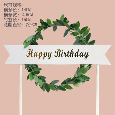 CAKE TAG - PAPER - WREATH LEAF- HAPPY BIRTHDAY  ( 9 WIDTH X 14 CM ) ROSETTE DRIP CAKE