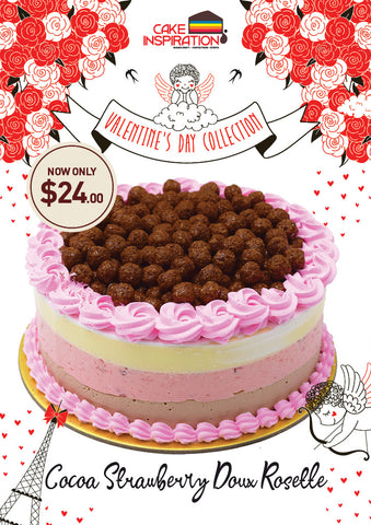 "Cocoa Strawberry Doux ""Sweet"" Rosette Valentine Cake"