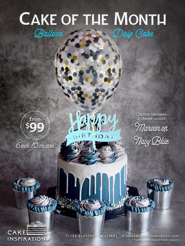 BALLOON DESIGNER CAKE SERIES - cake of month March 2019  ( Navy Blue Drip confetti )
