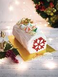 Christmas White Meringue Log Cake ( white )