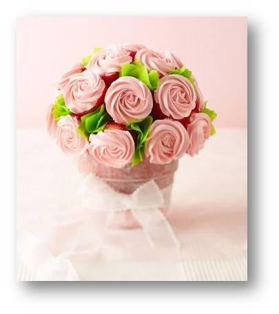 FLOWER BOUQUET CUSTOMIZED CUPCAKE VASE/ DESSERT COLLECTION/ / cake for mum/ single tone color cupcakes