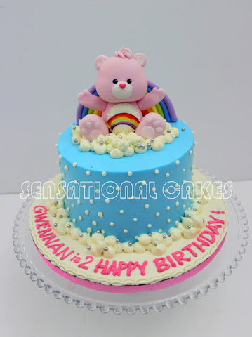 Children custom cake series - topper collection - design 11 Care bear toppers with rainbow background 彩虹熊蛋糕