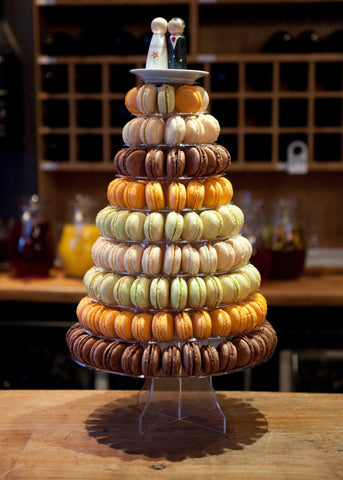 CUSTOMIZED DESSERT COLLECTION / MACARON TOWER 10 TIERS ASSORTED COLORS / CHOCOLATE COFFEE BROWN TONE