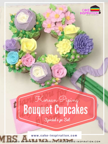 Korean Piping Bouquet Floral Cupcakes Special Valentine Edition ( set of 5 )