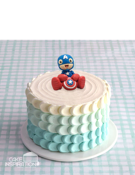 Design B /CAPTAIN AMERICA CUTE AVENGERS TOPPER CREAM CAKE   - Children Customized D-I-Y cream art cake topper series .
