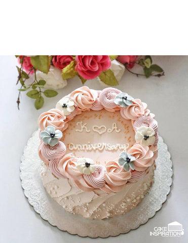 ROSETTE CREAM ART COLLECTION - DESIGN 02 ( ROSETTE PASTEL FLORA BUTTERFLY )