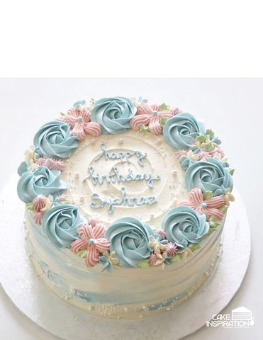 ROSETTE CREAM ART COLLECTION - DESIGN 04 ( ROSETTE PASTEL FLORA FULL RIM WATER COLOR SIDE RUSTIC ROMANCE)