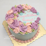 ROSETTE CREAM ART COLLECTION - DESIGN 03 ( ROSETTE PASTEL FLORA PALE BLUE ROMANTIC )