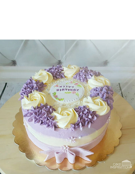 ROSETTE CREAM ART COLLECTION - DESIGN 10 ( FULL RIM WHITE ROSETTE LAVENDER SIDE WATER COLOR  BOW DESIGN )