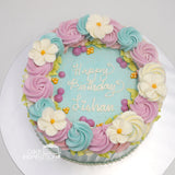 ROSETTE CREAM ART COLLECTION - DESIGN 11 ( FULL RIM PASTEL ROSETTE PASTEL BLUE BASE RUSTIC SIDE DESIGN )