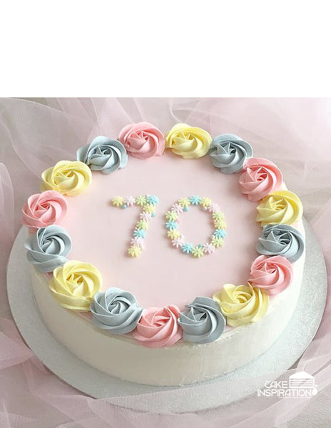ROSETTE CREAM ART COLLECTION - DESIGN 14 ( PASTEL ROSETTE NUMBER DESIGN, LONGEVITY AND BIRTHDAYS )