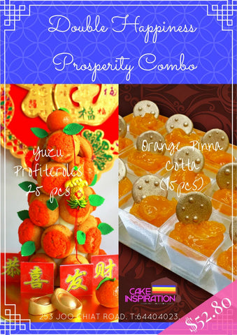 CNY COMBO 2 : Gong Xi Fatt Chye Croquembouche Tower + Golden Coin Orange Panna Cotta