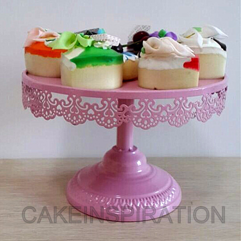 1 tier pink powder vintage design cake stand / size 25 cm dia x 15 cm tall