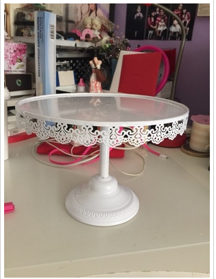 ONE TIER white  CAKE STAND ( NON Glass non crystal) lace design 12 inch round cake stand  / WHITE