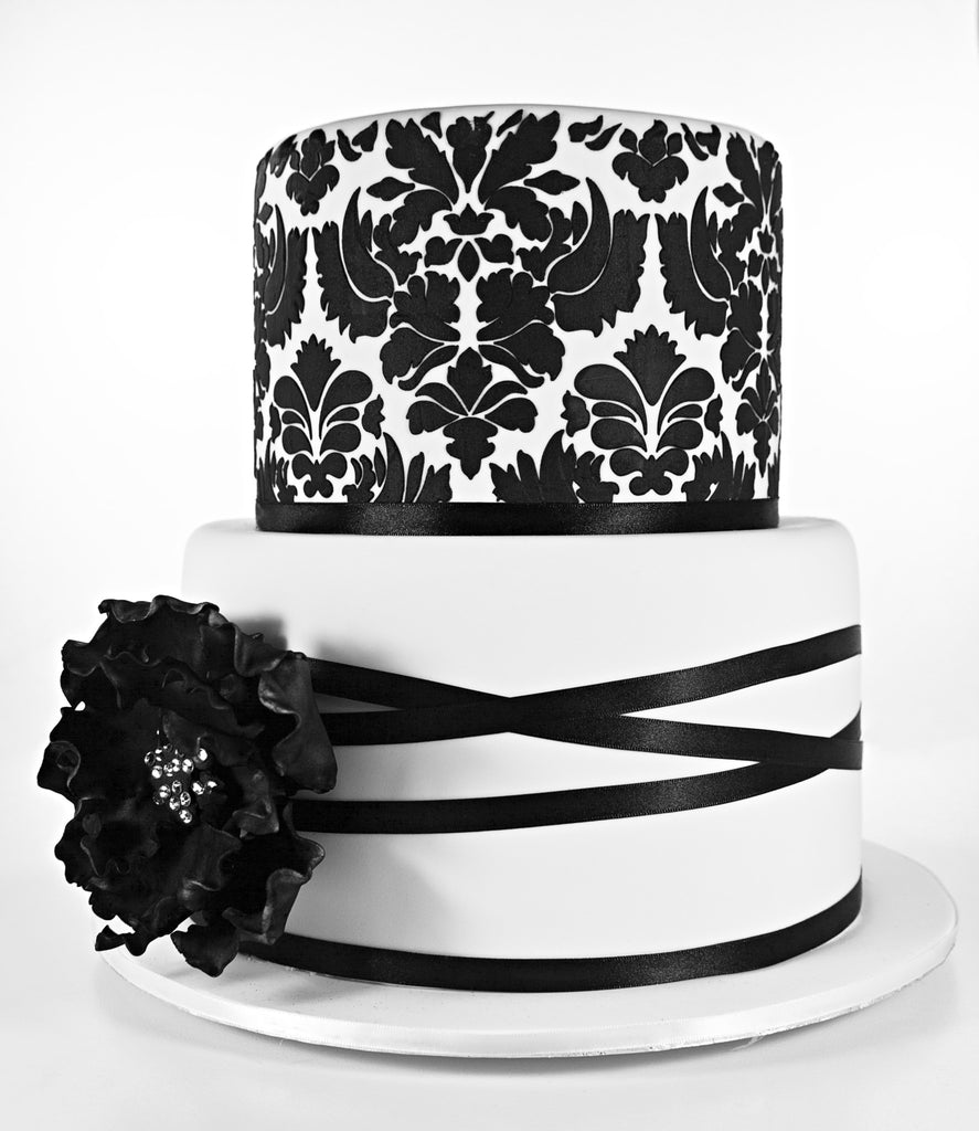 Customized Wedding Collection 2 Tier Black And White Theme Damask