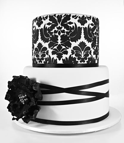 CUSTOMIZED WEDDING COLLECTION / 2 tier black and white theme damask with rose modern design concept