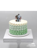 Design S/ CUTE LITTLE BABY ELEPHANT GREY CREAM CAKE    - Children Customized D-I-Y cream art cake topper series .
