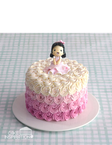 Design O/ CUTE LITTLE GIRL IN PINK DREAM CREAM CAKE    - Children Customized D-I-Y cream art cake topper series .