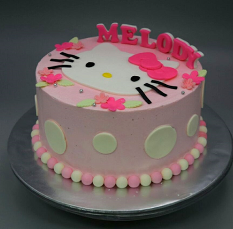 Surface 2D Art Cake Collection .Design 2. Pink Hello Kitty Pink design cake Singapore