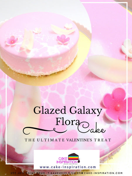 Pink Galaxy Glazed Strawberry Flora Art Marble Cake - Dark Baileys Choc Mousse with Raspberry Cremeux