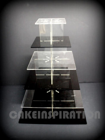 SIX TIER SQUARE CUPCAKE STAND / TRANSPARENT & BLACK