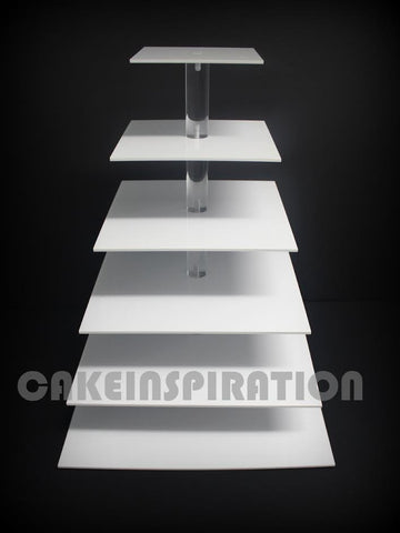 SIX TIER SQUARE CUPCAKE STAND / WHITE