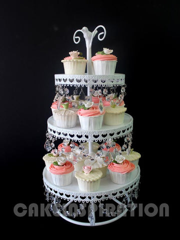 THREE TIER CUPCAKE STAND WITH CRYSTAL DECORATION / BROWN & WHITE version ( Rental cupcakes stand)