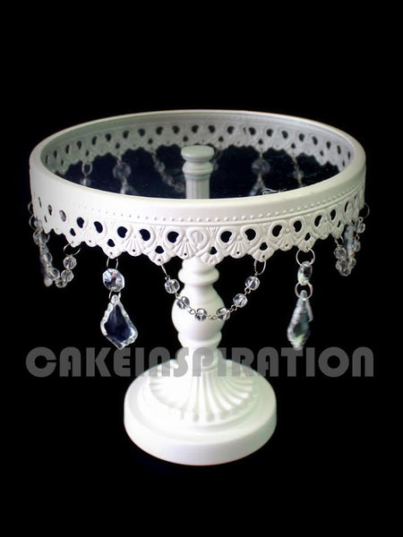 ONE TIER GLASS CAKE STAND WITH LACE AND CRYSTAL DECORATION / WHITE