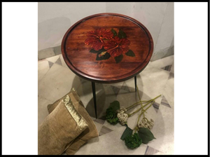 Tara Table (Red hibiscus- Hand painted)