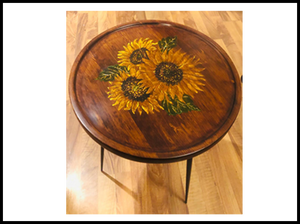 Tara Table (Yellow Hibiscus- Hand painted)