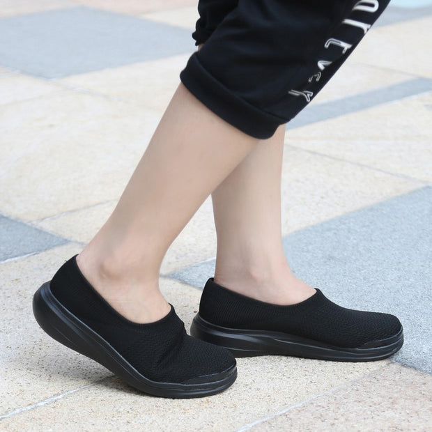 Women's linen fabric anti-skid breathable platform leisure loafers