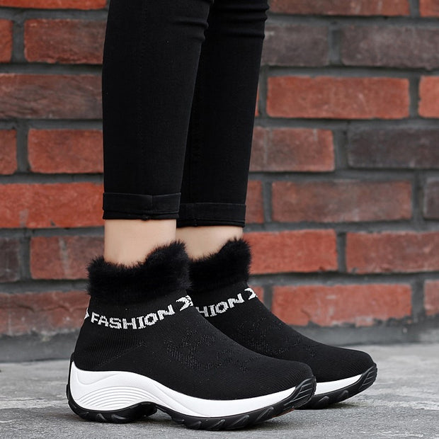 Women's winter thermal villi fashion high top sneakers