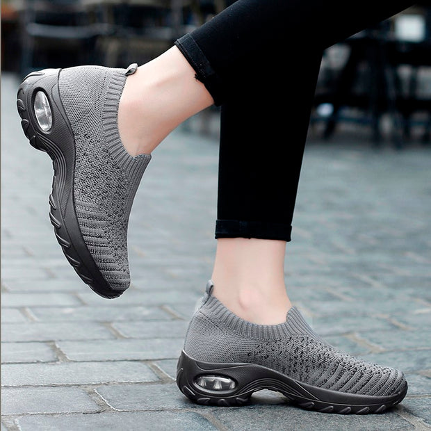 Women's air cushion elastic slip resistant leisure sneakers