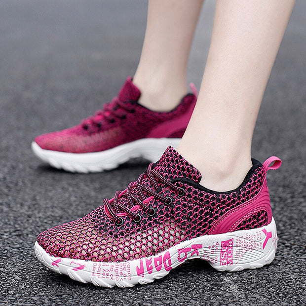 women's fashion printing trending mesh breathable running jogging sneakers