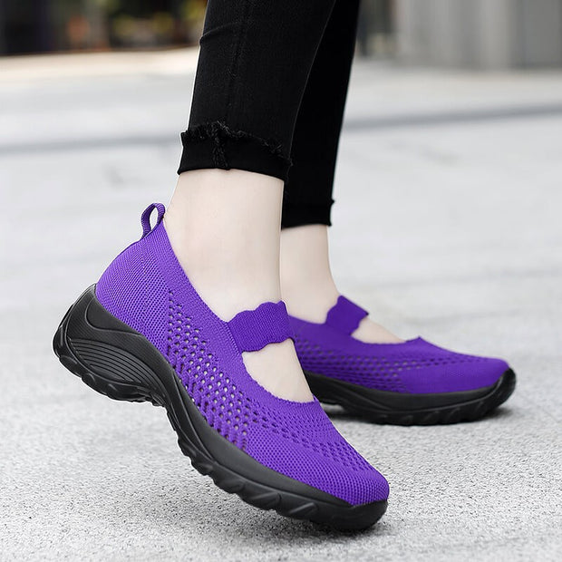 women's summer mesh breathable non-slip elastic slip on jogging sneakers