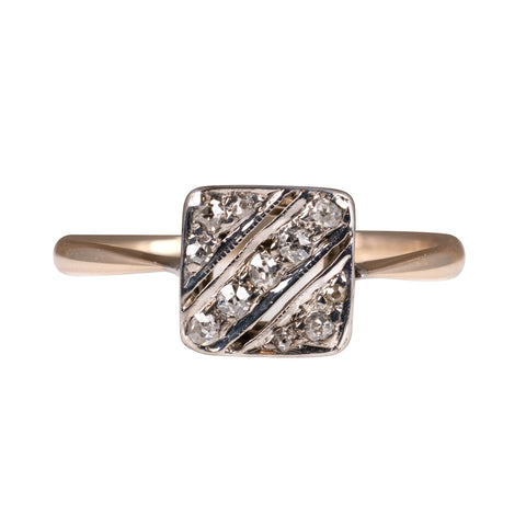 art deco diamond ring milgrain setting 18k gold